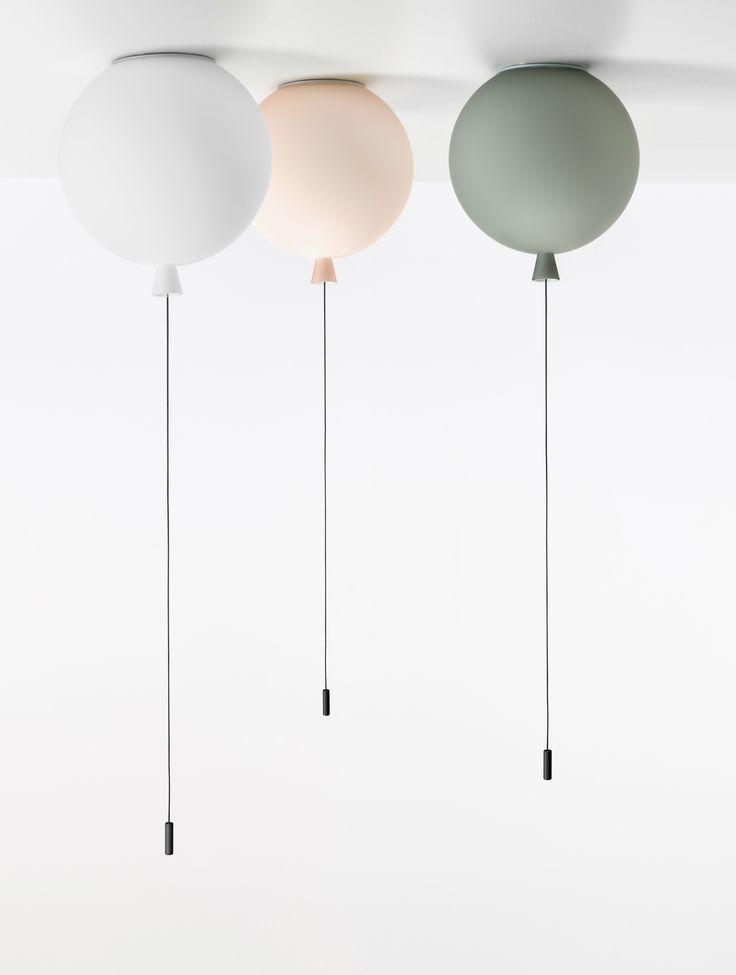 White Interior - Brokis lights - White, pink and grey matt balloons Memory are hanging lights. Design by Boris Klimek.