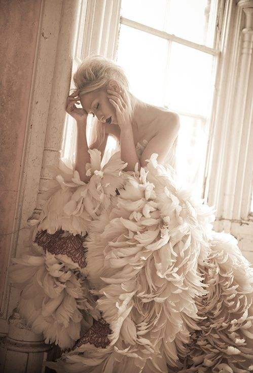 couture feather dress
