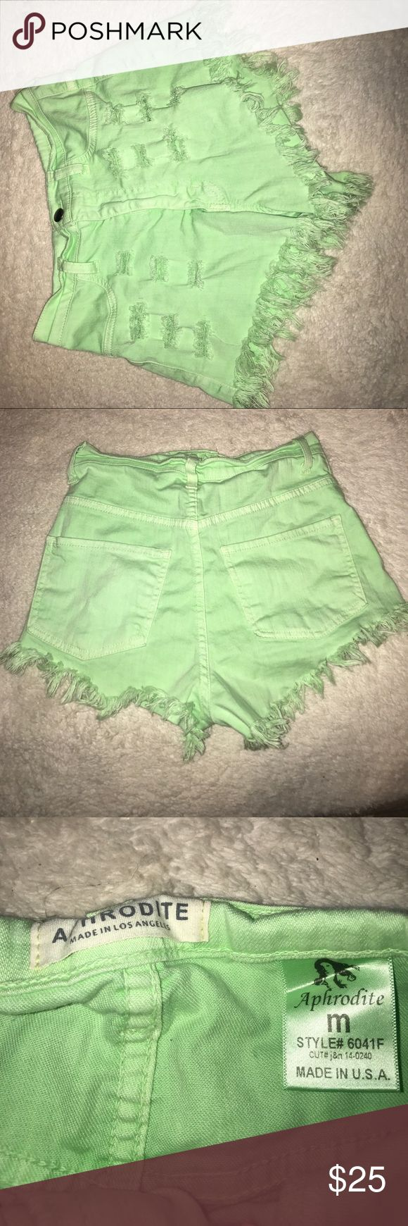 Neon Green Shorts Never Worn! Aphrodite Shorts Jean Shorts