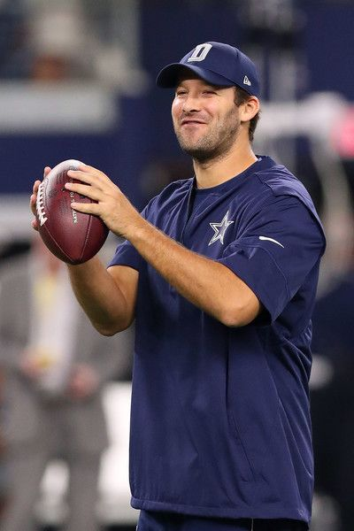 Tony Romo Photos Photos - Injured Tony Romo #9 of the Dallas Cowboys throws prior to a game against the Chicago Bears at AT&T Stadium on September 25, 2016 in Arlington, Texas. - Chicago Bears v Dallas Cowboys