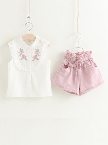 Buy 2 Pcs Girl's Shorts Set Flower Embroidery Vest Ruffled Shorts Kids Clothes & Girls Wear - at Jollychic