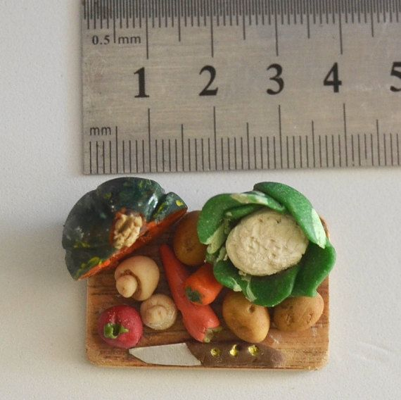 Miniature Chopping-board with Vegetables by RiverOakFive on Etsy
