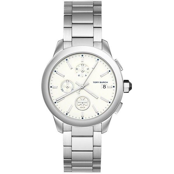 Tory Burch Collins Stainless Steel Chronograph Bracelet Watch ($375) ❤ liked on Polyvore featuring jewelry, watches, accessories, silver, leather-strap watches, chronograph watch, tory burch, logo watches and stainless steel jewelry