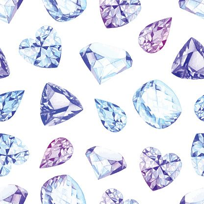 Vector Art : Blue and violet crystals watercolor seamless vector pattern
