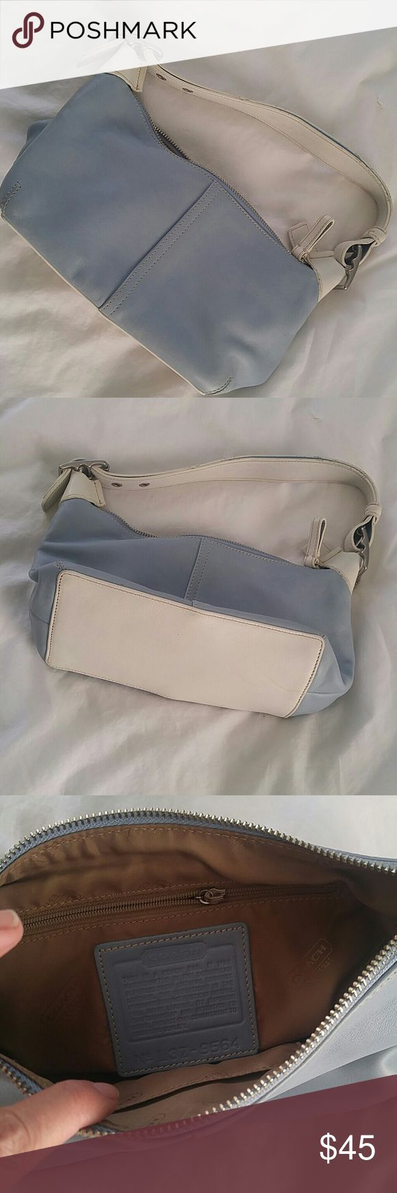 Coach blue and white hobo shoulder bag Beautiful barely used powder blue and cream white shoulder bag Coach Bags Hobos