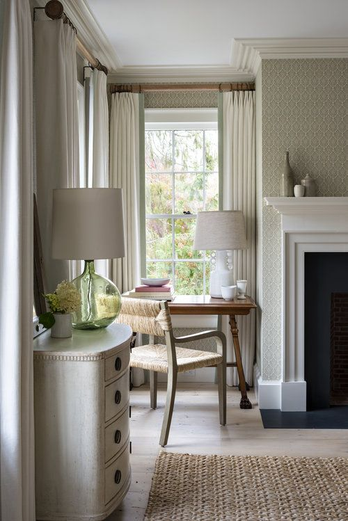 Serene Guest Room In Sag Harbor Cottage, Interiors By L.B. COPELAND INTERIOR  DESIGN Linen Curtains, Wooden Curtain Rods, Painted Mantel, Viu2026
