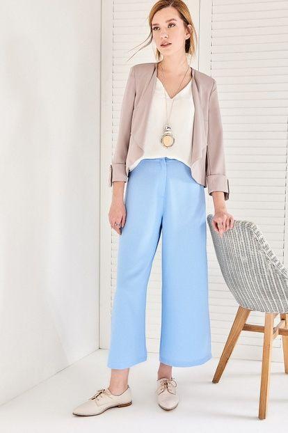 Bebe Mavi Culotte Yüksek Bel Kadın Pantolon