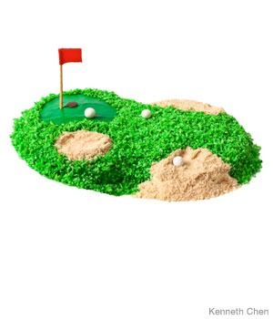 They say this cake is for kids but I think Brett would like it!  http://www.parenting.com/article/how-to-make-a-golf-birthday-cake