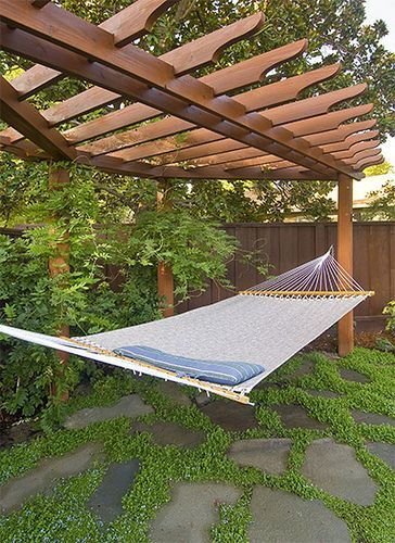 vines on the two center posts for privacy Custom Pergola with Hammock