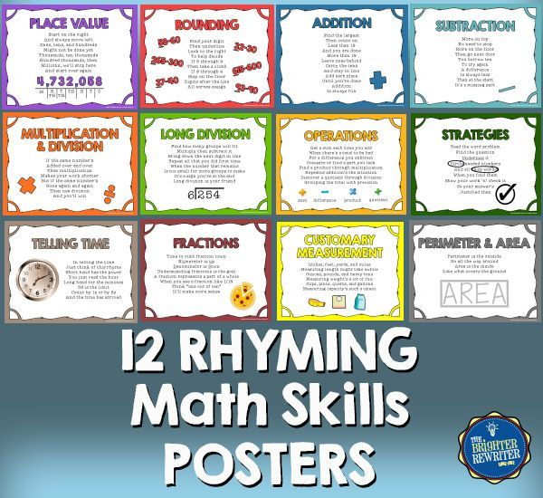 12 math posters featuring various topics with explanations and helpful hints written in RHYME! The high resolution posters include place value, rounding, addition, subtraction, multiplication, division, telling time, fractions, measurement, and problem-solving strategies.