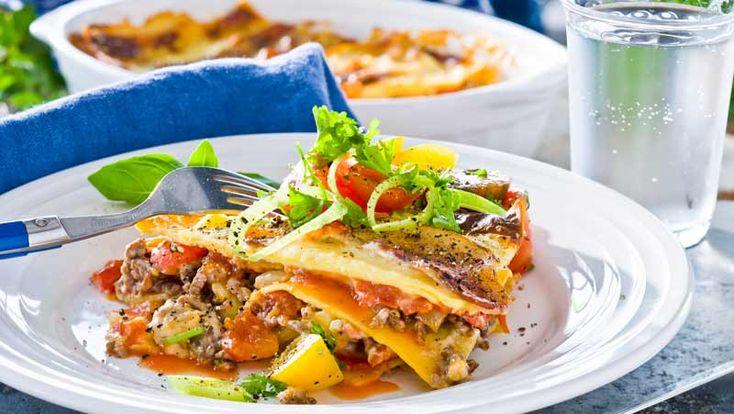 Lasagne med köttfärs och bacon