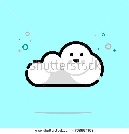 Cute smiling cloud icon design. Vector illustration for icon or logo. MBE style eps.10