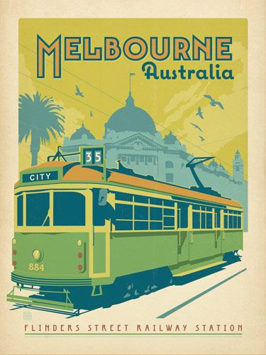 Australia: Melbourne Tram Car - This cheerful print celebrates the tram cars of downtown Melbourne, Australia. Melbourne's tram system began operations in 1885, when the first cable line operated by the Melbourne Tramway and Omnibus Company opened for business. The cable tram system has become a charming (and convenient) part of Melbourne life.<br />