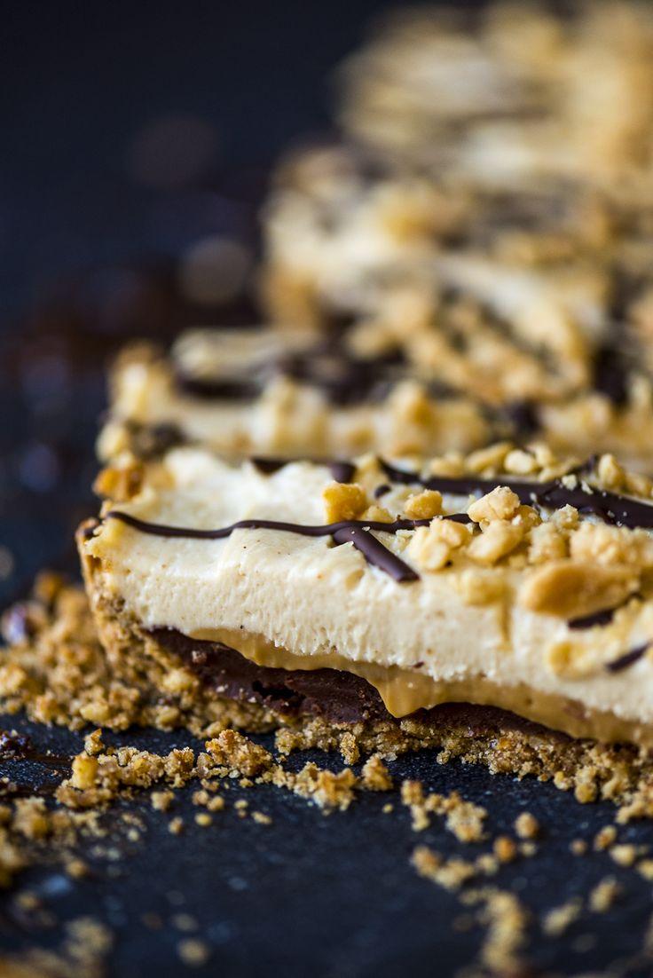 Indulgent peanut butter, caramel and chocolate tart