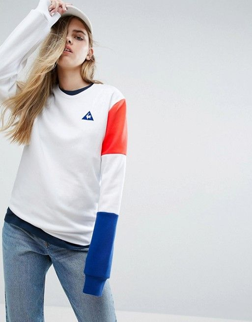 Le Coq Sportif | Le Coq Sportif Boyfriend Sweatshirt With Tricolores Sleeve