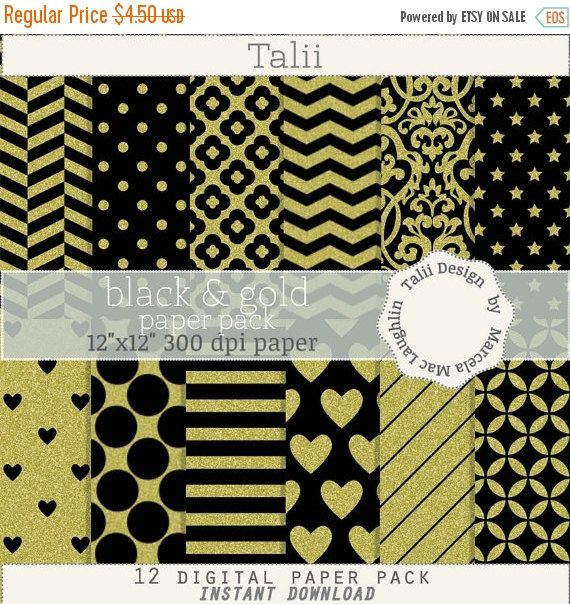 ON SALE Black and Gold DIGITAL Paper- Gold glitter on black background pattern party paper damask flowers dots hearts stars