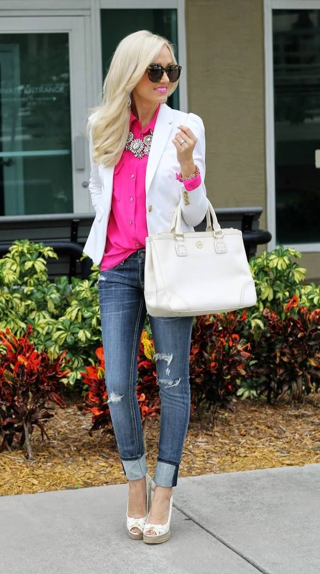 oh so pretty in hot pink blouse boyfriend jeans pretty