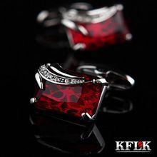 Kflk luxe chemise boutons de manchette pour hommes boutons de manchette de mariage marque Red boucles manchette de haute qualité abotoaduras bijoux(China (Mainland))