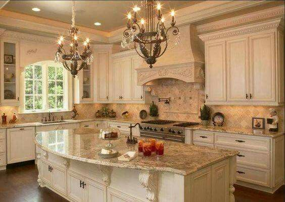 This. Is. My. DREAM. Kitchen!!!!!!!! I love everything! The layout, the cabinet color, the granite, the chandeliers! Everything is perfect!!