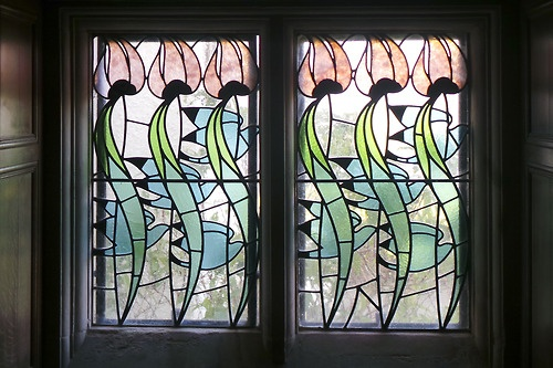 English Art Nouveau stained glass window from Baillie Scotts Blackwell, Cumbria - exquisite in its rarity @lakelandarts