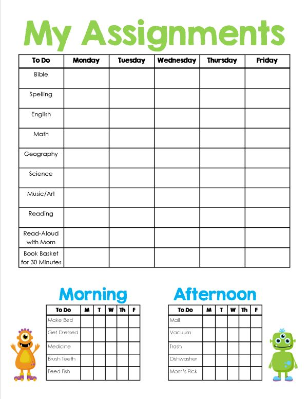 printable daily assignment sheet