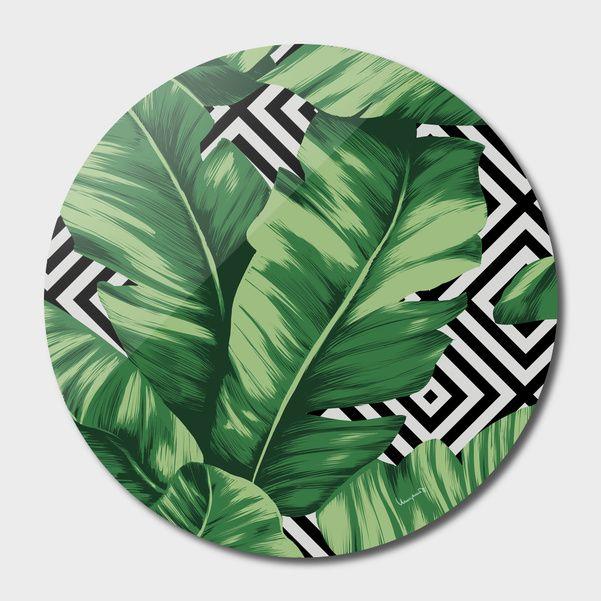 Discover «Banana leaf», Exclusive Edition Disk Print by Paola Morpheus  #pictures #interiordesign #bedroom #bathroom #dinningroom #bananaleaf #summer #dress #dresses #design #moda #moda2017 #summer2017 #geometric #geometria #foglie #banana #leaf #cameradaletto #arredo #arredamento #green #bio #flower #fiori #piante #natura #nature #plant #deco #idee #ideegreen #wedding #gif #buy #paolamorpheus #artist #living #room #livingroom #italy #beauty #house #housesweethouse #spring #b/n #garden