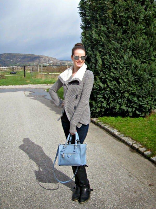 Stiletto in the Cloud: Grey Knit Cardigan