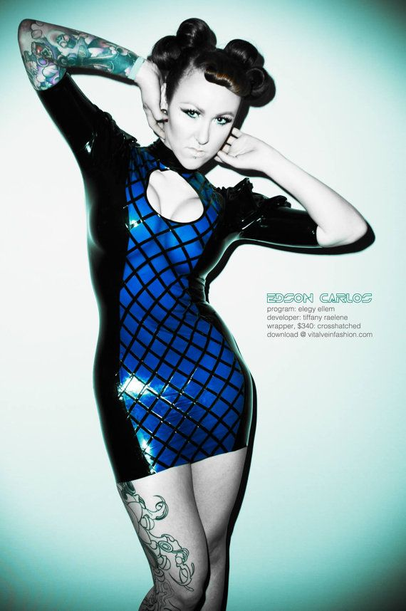 Crosshatched Latex Dress with Small Keyhole Opening