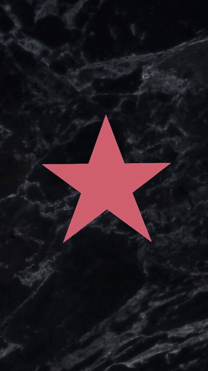 Pink Star Black Marble Phone Wallpaper Pattern Wallpaper Girl