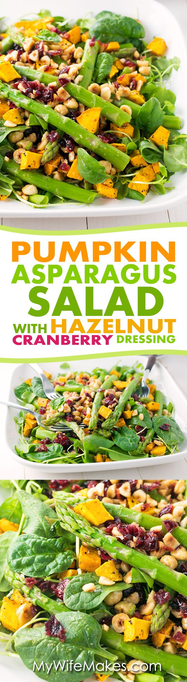Tangy Pumpkin and Asparagus Salad with Hazelnut Cranberry Dressing.
