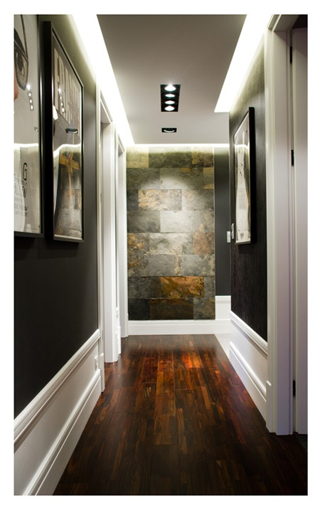 Love The Stone Tile For A Patio: Love The Wall Color, Dropped Panel Lighting On Ceiling