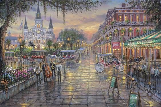 """Jackson Square"" The iconic New Orleans 'Jackson Square' captured by artist Robert Finale. Available in 3 sizes in limited edition hand embellished canvas giclee. Insky's Thomas Kinkade Gallery, Birmingham, AL"