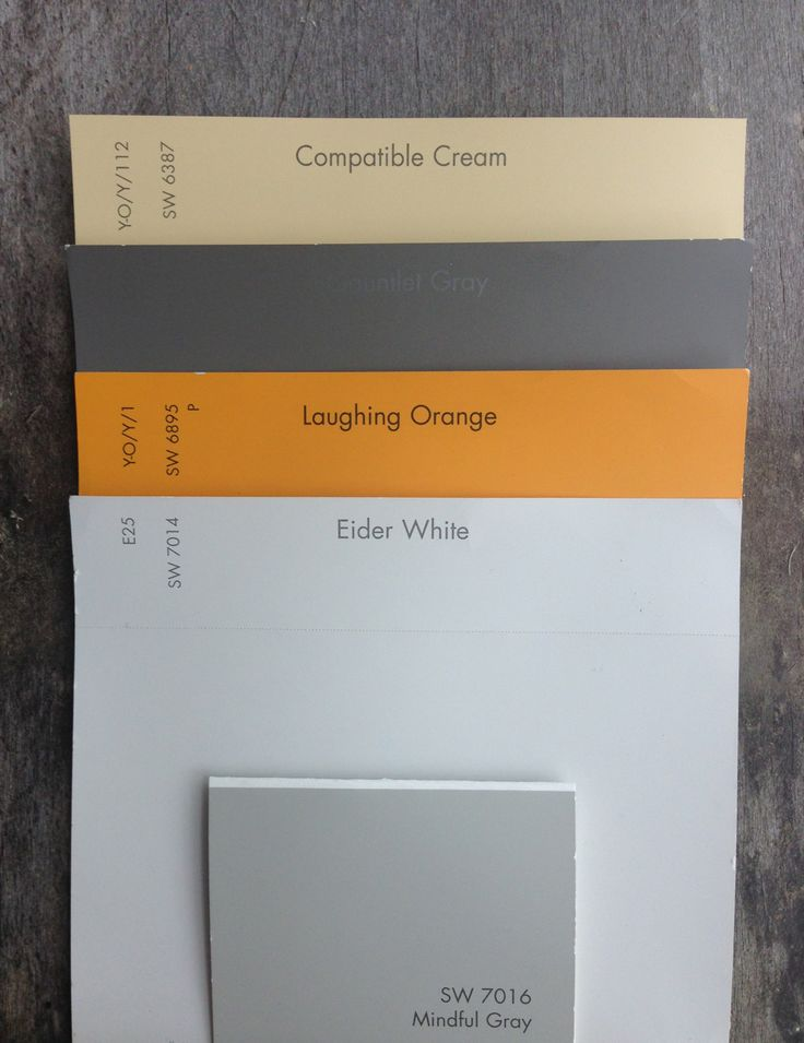 Updated Color Palette (on pallet wood). All Sherwin Williams. Top to bottom: -Compatible Cream, SW6387, for all bathroom walls, bathroom doors/jamb, and corridor leading to bathroom -Gauntlet Gray, SW7019, for exposed ceiling -Laughing Orange, SW6895, for elevator doors and jamb -Eider White, SW7014, for lobby walls and door/jamb to stairwell. Mindful Gray, SW7016, for suite doors/jambs and kitchen lower cabinets. Walls flat paint. Doors, trim, cabinets semi-gloss. No VOC Paint.
