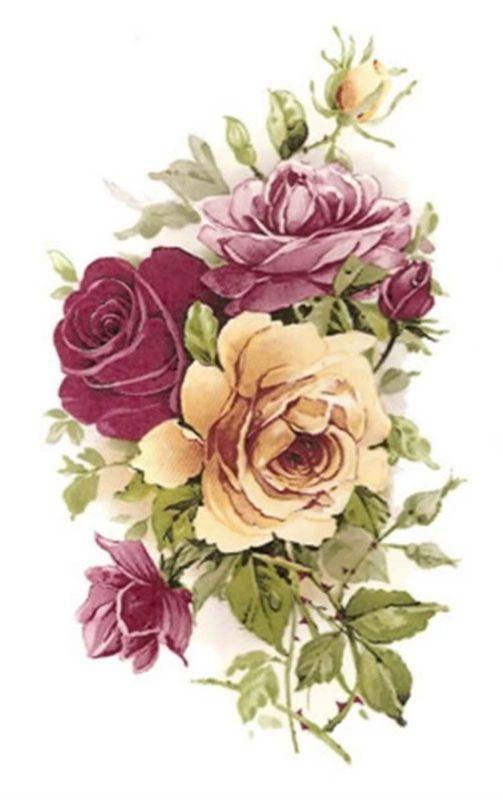 Rosa Rosa Amarilla Select Size Waterslide Etiquetas de cerámica Bx