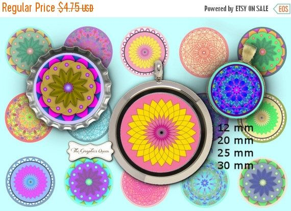 80% OFF SALE 12 mm, 20mm, 30 mm, 1 inch Mandala Art Print Digital Collage Sheet 1' Circle Bottle Cap Bottlecap Images for Magnets, Jewelry