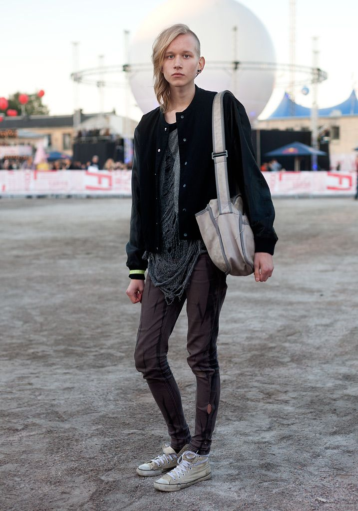 "Eero, 18 --    ""I like ordinary clothes with a twist, like this jacket with silk sleeves. I always wear skinny jeans. Tokyo inspires me. The bag is my grandmother's old Marimekko bag.""  ---11 August 2012, Flow Festival"