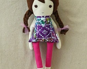 Fabric Doll Rag Doll with Braids and Skirt. $32.00, via Etsy.: Fabrics Dolls, Fabric Dolls, Dolls Rag, Rag Dolls