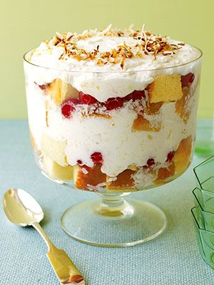 Pina Colada Trifle recipe -perfect for a make-ahead dessert for parties. The flavors mellow with chilling and the layers of cake, fruit, and cream are always festive. For this trifle, marshmallow cream and crushed pineapple are folded into the whipped cream.