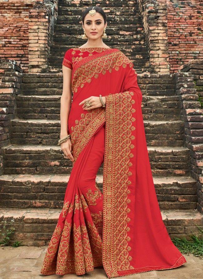028a7797b1 Red Art Silk Patch Border Saree | saree | Designer silk sarees, Art ...
