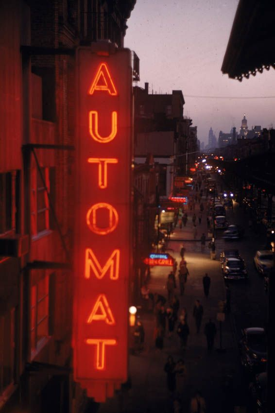 """""""Automat"""" – NY, 1955. (Ernst Haas) One of those plays an important role in an upcoming Silencer tale."""