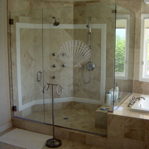 Why Etched Decals Etched Decals Offer The Same Look As Glass Etching At A Fraction Of The Cost They Are Easy To Apply Shower Doors Coastal Design Glass Door