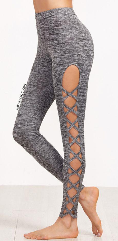 Grey Marled Knit Cutout Lattice Detail Leggings