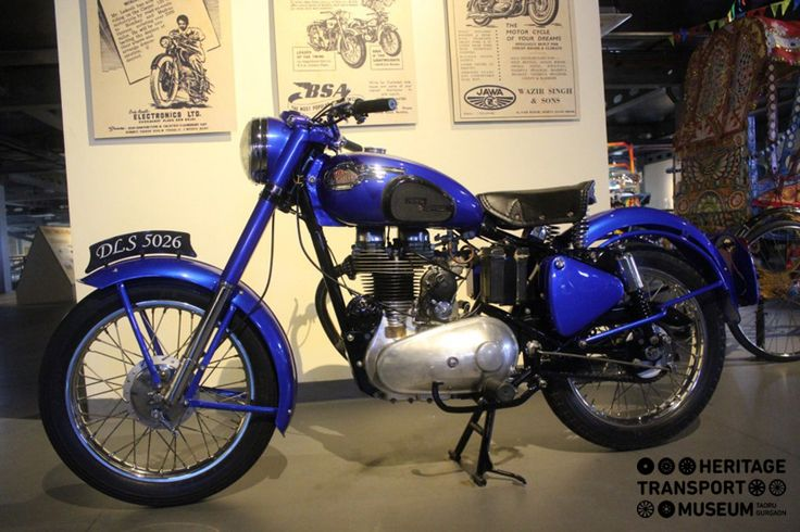 The renowned Enfield Cycle Company was founded in 1893 and branded as Royal Enfield. The company launched its first Enfield motorcycle in 1901! The image depicts a 1954 Royal Enfield Bike beautifully preserved by the museum!  #royal #enfield #bike #vintage