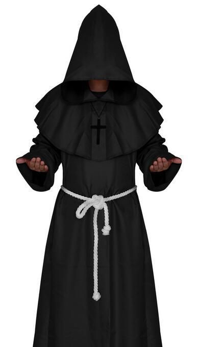 Skeleton Priest Costume Adult Scary Monk Halloween Fancy Dress