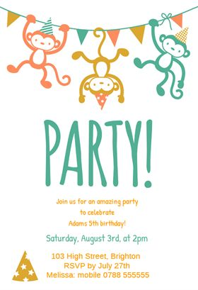 """""""Childrens Party""""  printable invitation template. Customize, add text and photos. Print or download for free!"""