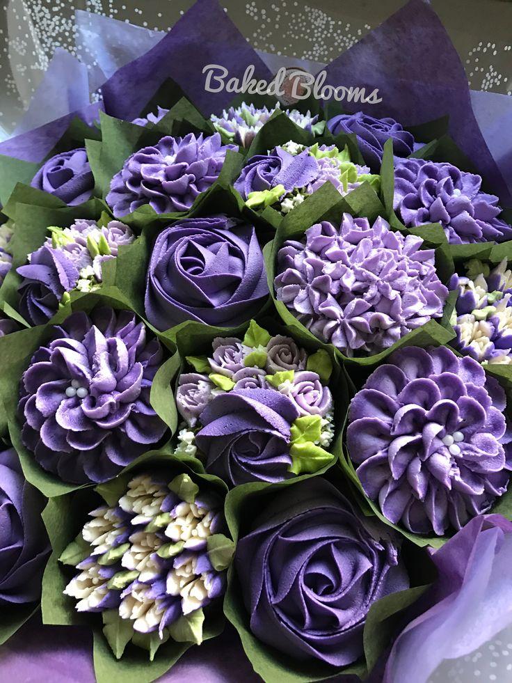 Purple bridal shower bouquet www.bakedblooms.com
