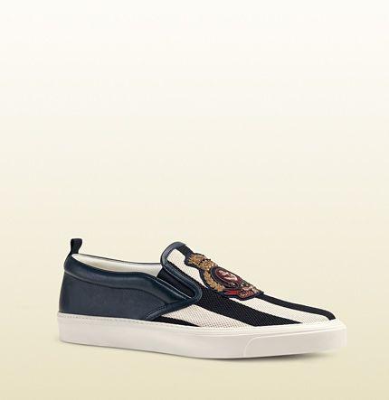 Striped Canvas Slip-On Sneaker | Gucci