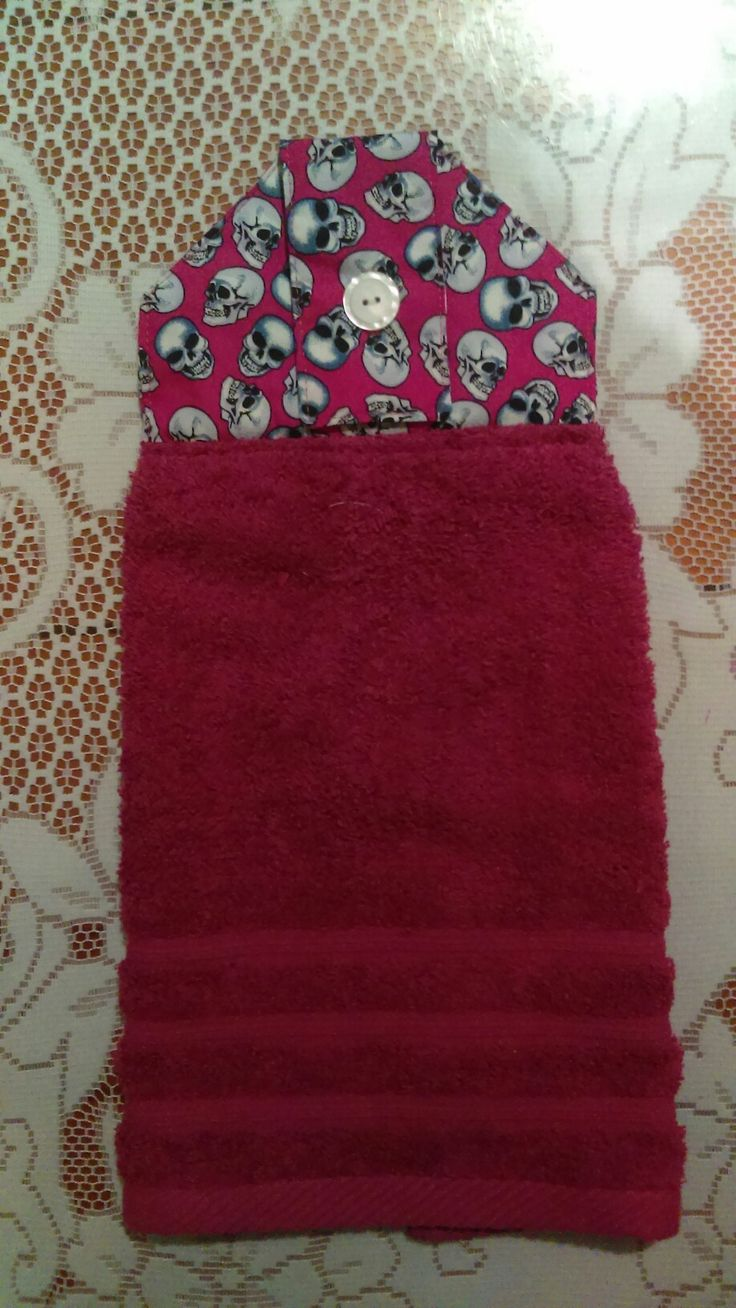 Available online. Gothic hot pink hand towel. Cath and Bec. com
