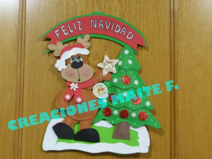 placa de navidad para puerta en goma eva reno con arbol de navidad