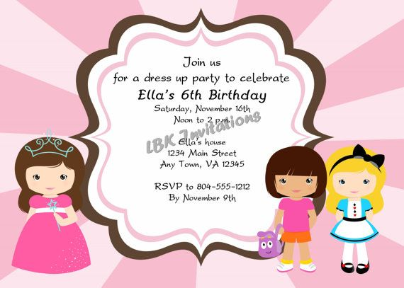 52 best images about Dress upcostume birthday party – Dress Up Party Invitations